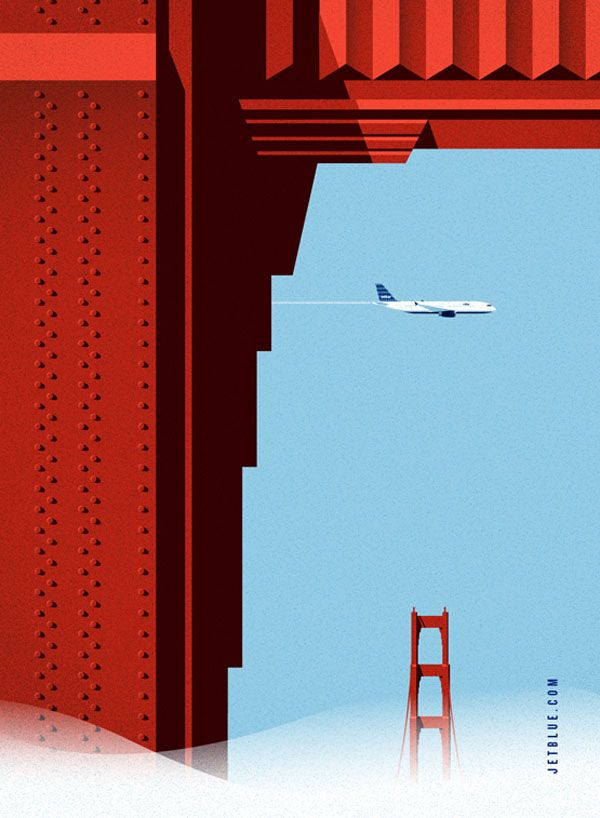 jetBlue Illustrations by Lab Partners for Goodby, Silverstein and Partners | illustration | Pinterest | Illustration, Poster and Design