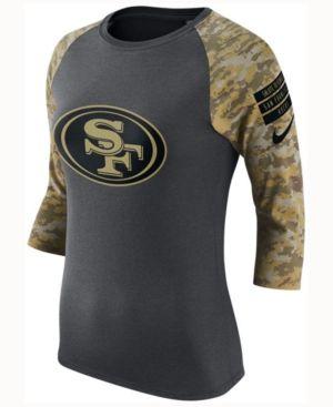 Nike Women's San Francisco 49ers Salute to Service Raglan T-Shirt - Silver M