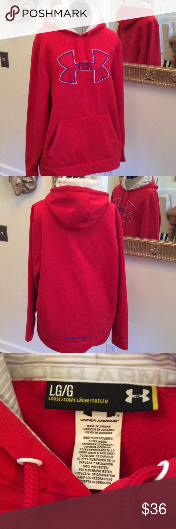 Under Armour man Large red pullover hoodie, drawstring, blue trim, great Under Armour Jackets & Coats