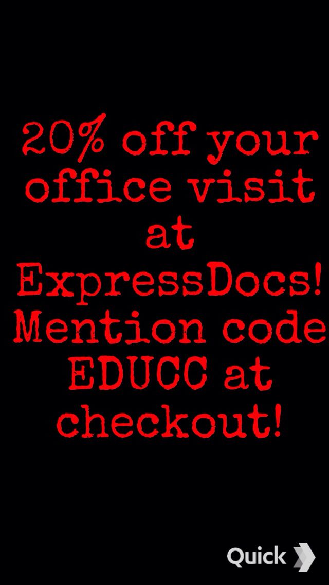 Walk in to ExpressDocs in Delray Beach today and receive this discount! Coupon valid for self pay patients only. Mention coupon code EDUCC at checkout, print coupon, or show the front desk a picture of this coupon. Not valid on vaccines, school physicals, and sports physicals. Offer valid on 10/15/2014, 10/16/2014, and 10/17/2014 only. Coupon expires at 9:00pm on 10/17/2014.  #coupon #discount #deal  #expressdocs #urgentcare #delray #delraybeach #southflorida #sofla #medicalcare…