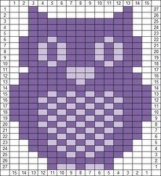 Owl knitting chart (15 across)