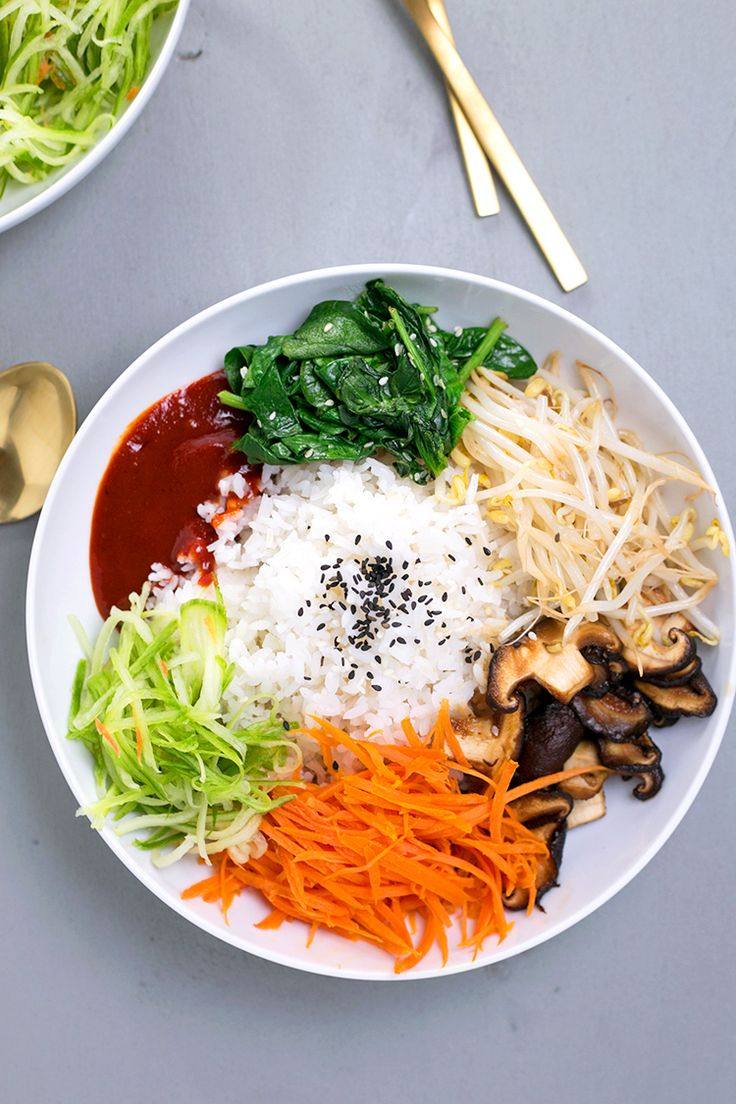 Vegan Korean Bibimbap – a classic Korean dish of rice and seasonal sauteed veget…