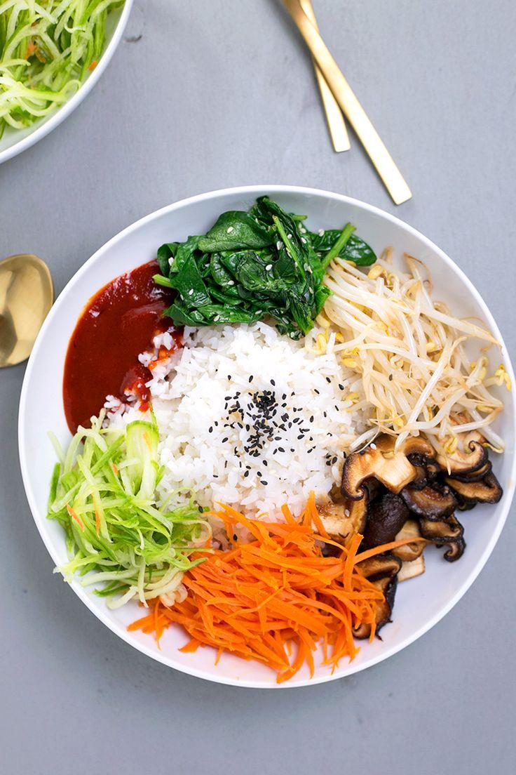Vegan Korean Bibimbap - a classic Korean dish of rice and seasonal sauteed vegetables, served with a spicy Gochujang chilli sauce. #vegan #korean #bibimbap #veggies #healthy #lowfat #colorful #801010