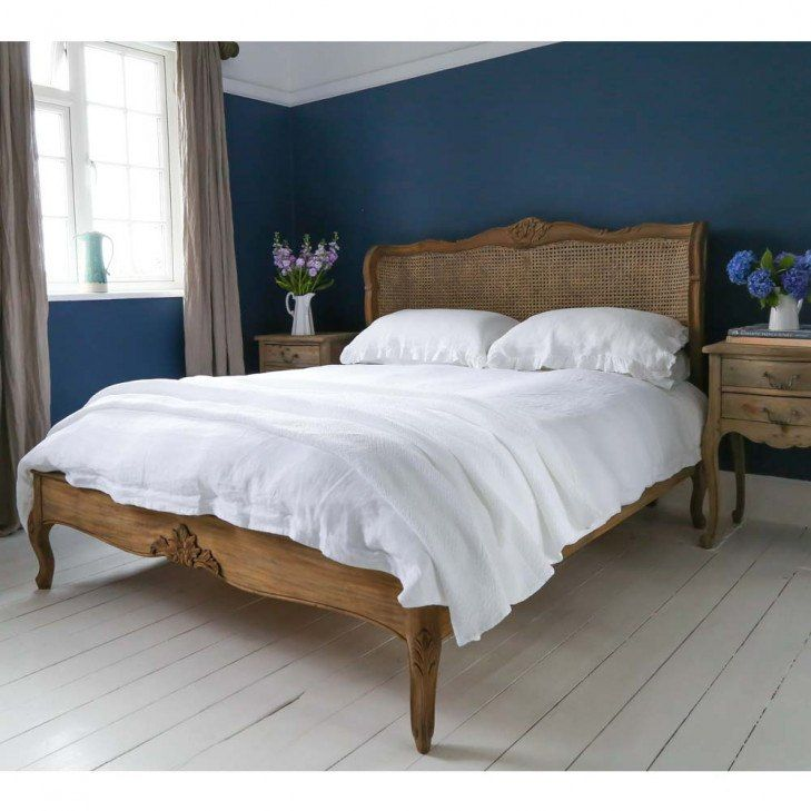 Chateauneuf Rustic Rattan Bed With Images Carved French Bed