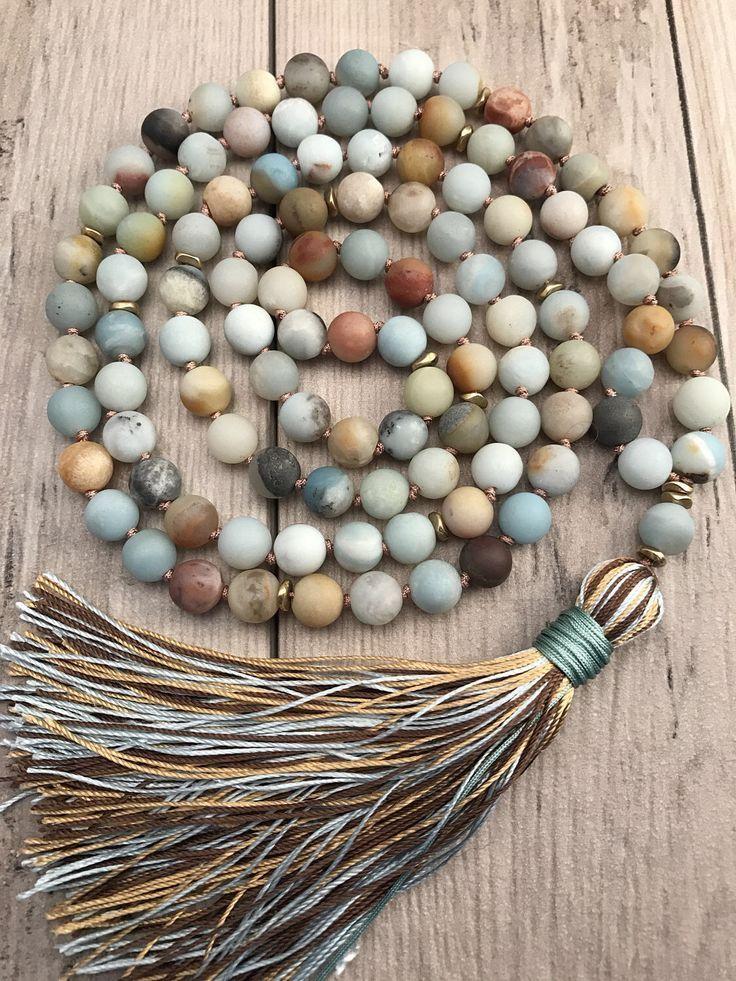 Amazonite Mala Bead Necklace 108 Mala Beads Mala Necklace Silk