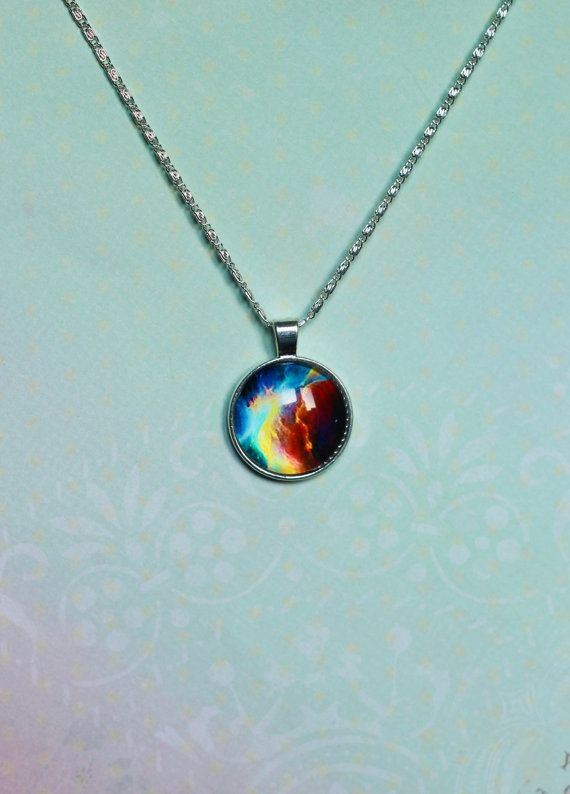 Silver NEBULA chain  Pendant Galaxy Necklace by MyDayDreamsShop