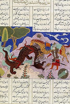 Rustam's 3rd trial: killing the dragon (with the help of his horse Raksh). Illustration from Persian epic poem, Shahnama.