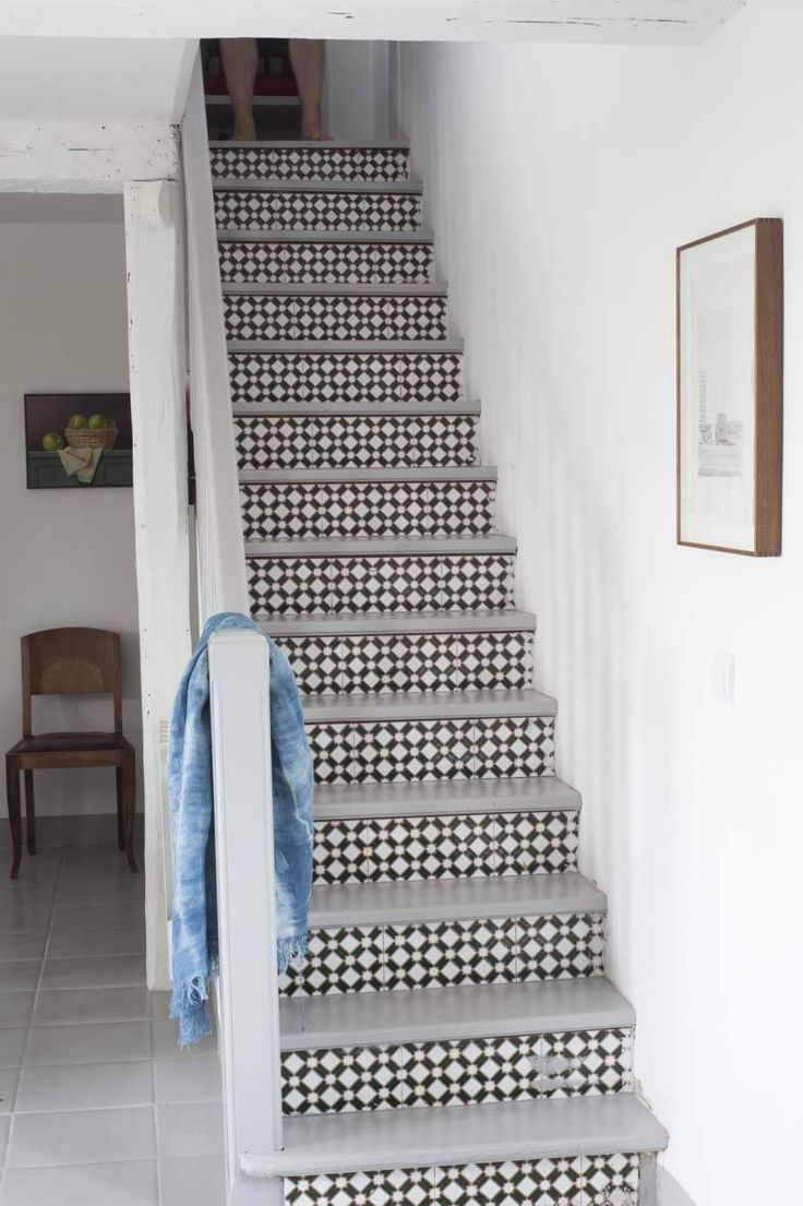Tiled stair risers at Mas Maroc, Amanda Pays Corbin Bernsen farmhouse in the South of France. Tim Beddow photo from Open House.