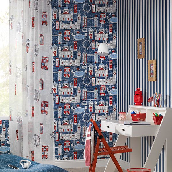 Lovely red, white and blue colour scheme with feature wall using the London skyline wallpaper from Bambino by Galerie - 245912R