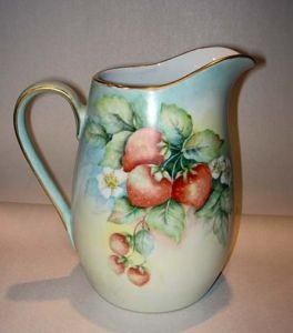 Limoges pitcher with strawberry design - hand painted & signed c1920