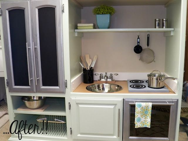 this is HUGE for a play kitchen...but if your lucky enough to have the room it a cool idea! DIY Entertainment Center to Play Kitchen!!