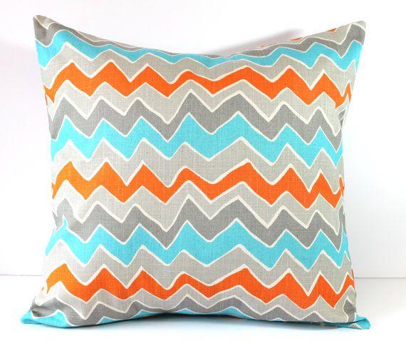 Decorative Pillows Cushions Cover - Orange Turquoise Gray Seesaw Chevron - 18 x 18 Accent Throw Pillow - Baby Nursery Decor. $17.00, via Etsy.