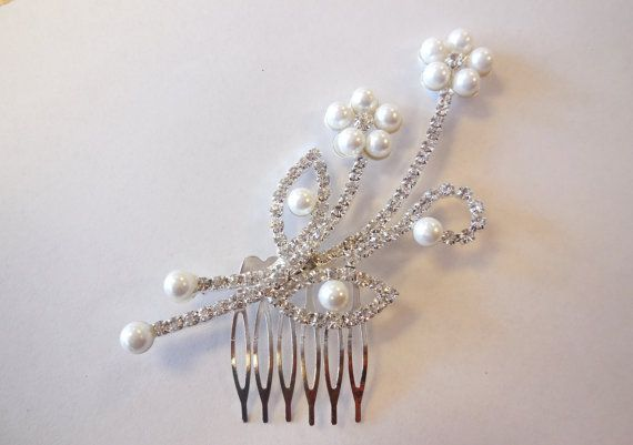 Hair Comb Rhinestones White Pearls Silver Tone Floral Bridal Wedding Jewelry Prom Special Occasion Evening Wear