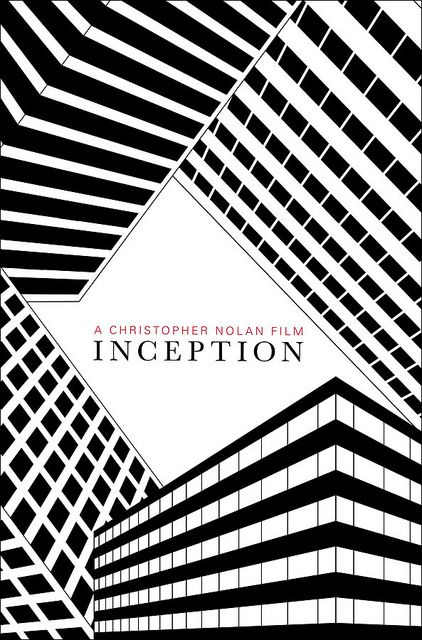 Inception by Christopher Nolan- alternative movie poster by Mat Bond #graphic_design 4/14/14 Inspired me because it looks like four skyscrapper which are standing in every direction.