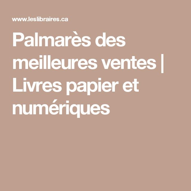 Palmarès des meilleures ventes | Livres papier et numériques