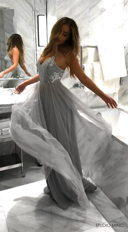 SILVER WHIMSICAL PRINCESS DRESS BY STUDIO MINC #FORMAL #PROM #DRESS #SILVER