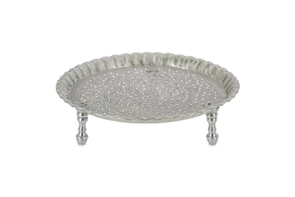 Casa Uno Round Aluminum Tray Ruffled Edges With Legs Silver - NEW