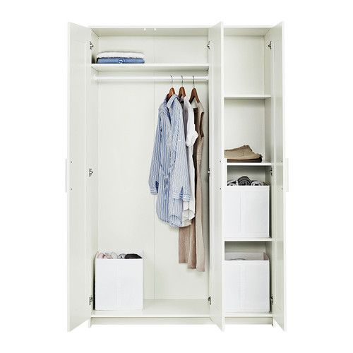 brimnes wardrobe with 3 doors white mirror door. Black Bedroom Furniture Sets. Home Design Ideas