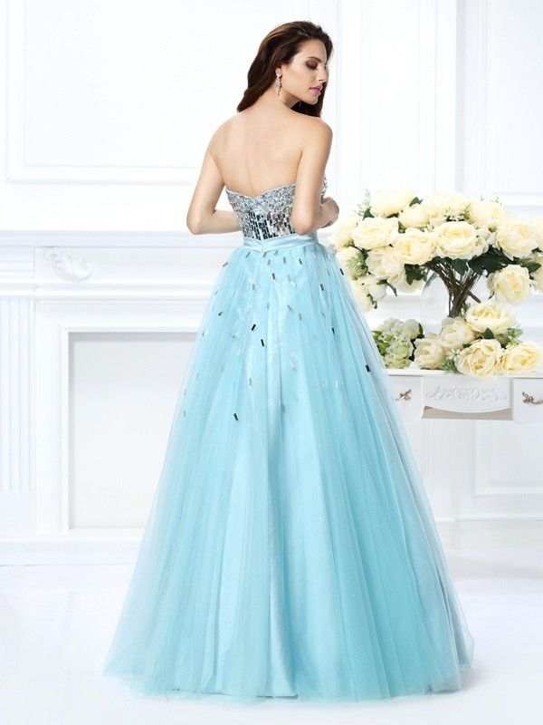 8ef8df925ee Ball Gown Sweetheart Beading Sleeveless Paillette Long Satin Quinceanera  Dresses