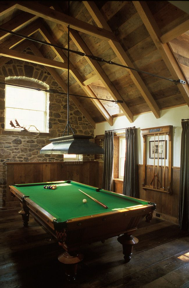 Splashy billiard lights in Family Room Traditional with Pool Cue Rack next to Billiard Room alongside Pool Table Lighting and Bonus Room