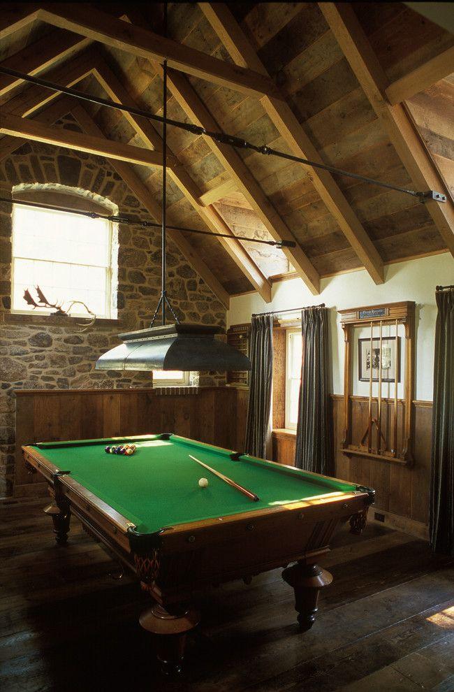 Splashy billiard lights in Family Room Traditional with Pool Cue Rack next to Billiard Room alongside Pool Table Lighting and Bonus Room