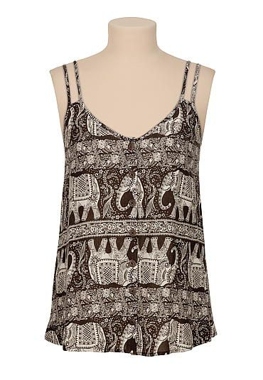 Button Down elephant print tank (original price, $26) available at #Maurices