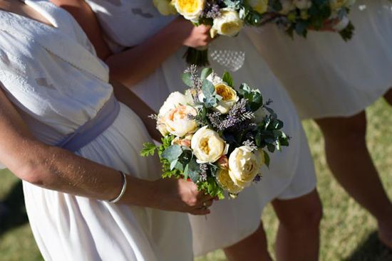 Gorgeous bouquets of garden roses, lavender, spinning gum and scented geranium perfect for a wedding in the countryside. Flowers and styling by Victoria Whitelaw Beautiful Flowers.