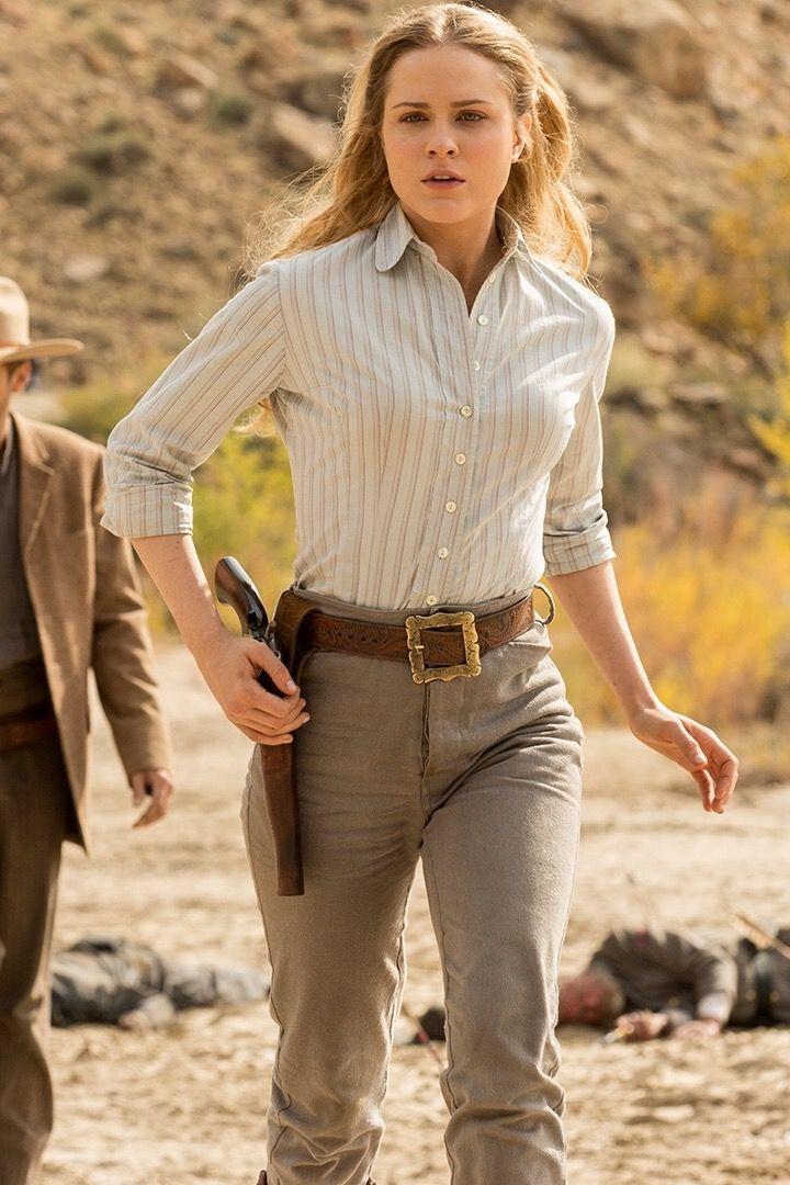 Dolores on HBO's Westworld.  She's an interesting character.  Stuck in a struggle  between being forced to play the victim, but haunted by memories of a different Dolores, she finally takes a step towards sentience,  freedom, and discovering her true potential.