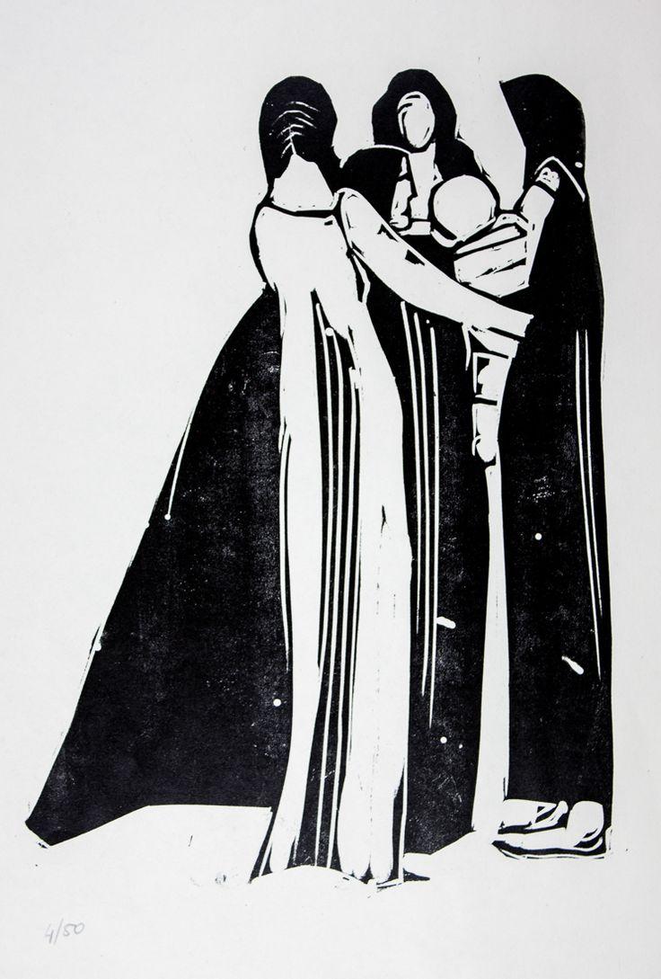 """Lorenzo Viani. 8 xilografie originali. """"Le comari""""  . Ognuna numerata a matita 4/50 e con al retro certificato di garanzia. Edita in occasione della mostra """"Viani intimo"""" 28 agosto-18 settembre 1961. Artist or Maker: Lorenzo Viani Literature: Ottima conservazione."""