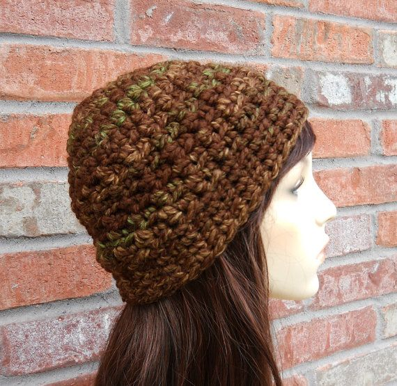 Brown and green wool blend beanie hat for women and teen girls.