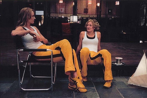 Uma Thurman and stuntwoman Zoe Bell on the Kill Bill set.