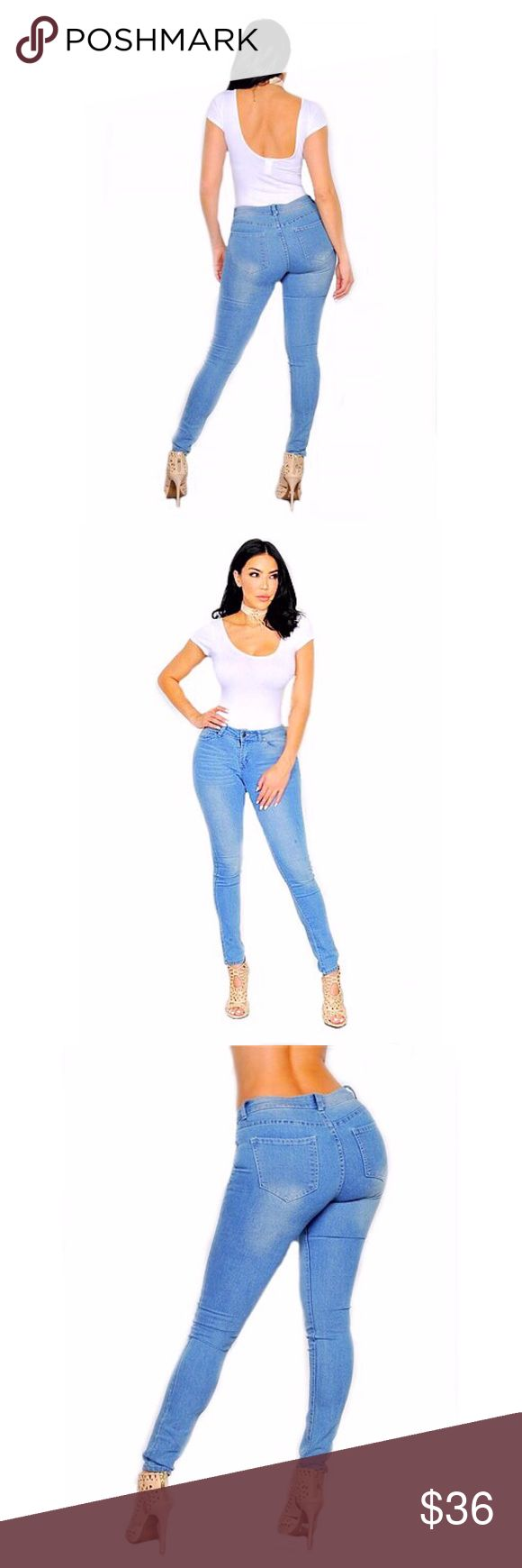"""Light Blue Skinny Jeans Light Blue Skinny Jean Made in USA 77% Cotton 21% Polyester 2% Spandex Sizes 1, 3, 7, 9, 11, 13 Inseam 30"""" Jeans Skinny"""
