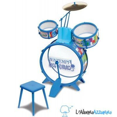 L'Albero Azzurro Store - Giochi didattici, creativi e per crescere Batteria per bambini - BONTEMPI - Rock Drummer - Drum Set con sgabello - STRUMENTI MUSICALI