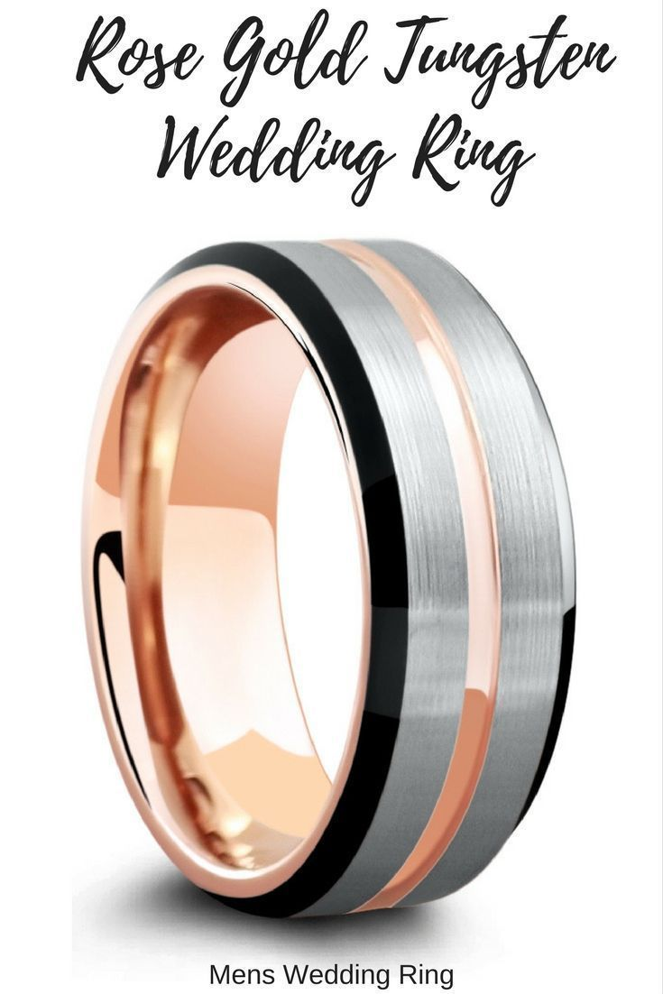 It is just an image of Mens rose gold tungsten wedding ring. Rose gold channel, silver