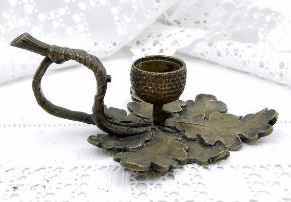 Francese antichi bronzo foglia di quercia e portacandele di