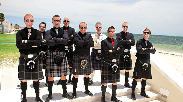 "This wedding party ""kilt"" us! Love the handsome groom and groomsmen in their traditional Scottish kilts for this beach wedding. What will your guys wear? Pin your ideal look to your #DreamBeachWedding board!"