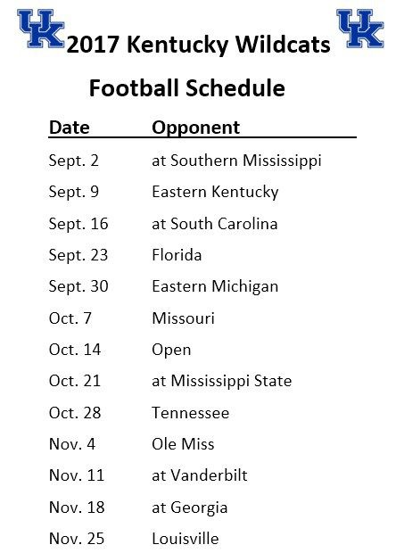 Printable 2017 Kentucky Wildcats Football Schedule