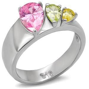 STAINLESS STEEL RING - Past Present Future 3 Stone Multiple Color CZ Ring CostumeFashionJewelry. $17.50