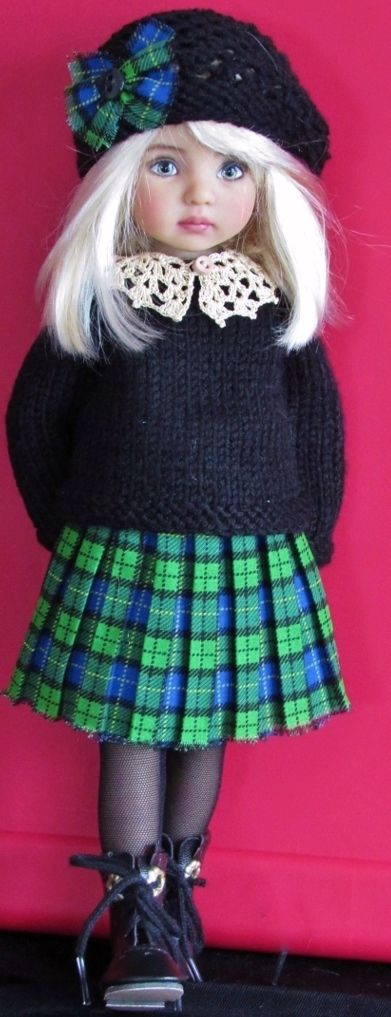 Handmade Sweater and skirt set made for Effner little darling dolls