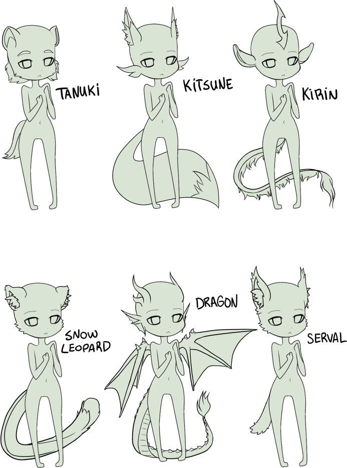 FREE - anthro chibi bases by Kyttias