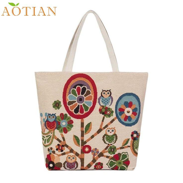 Fashion Hot New AOTIAN A Owl Printed Canvas Tote Casual drop ship beach Bags Women Shopping Bag12122  Drop Shipping Wholesale