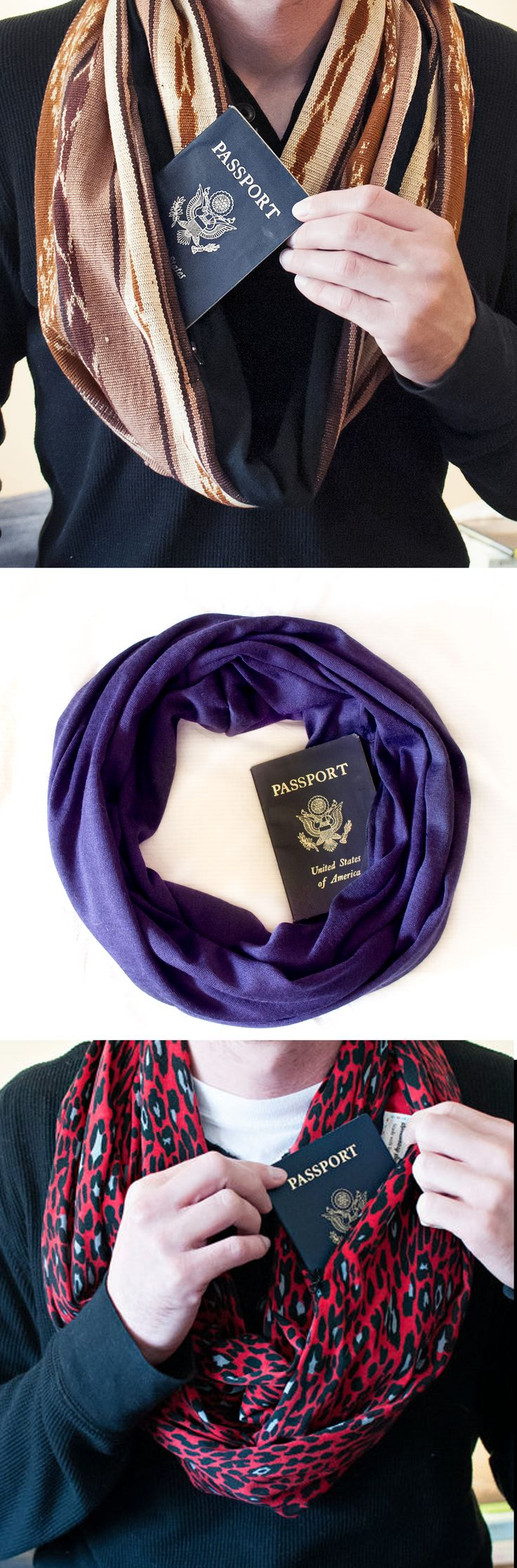 No pickpockets here! Hide your passport & money when you travel in a very clever way with Speakeasy Travel Scarves.