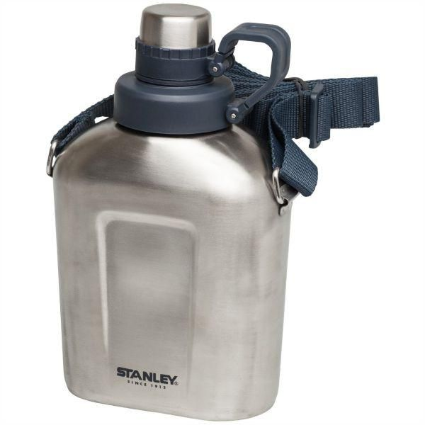 STANLEY | Adventure 1L Canteen with Shoulder Strap  - Brushed S/Steel