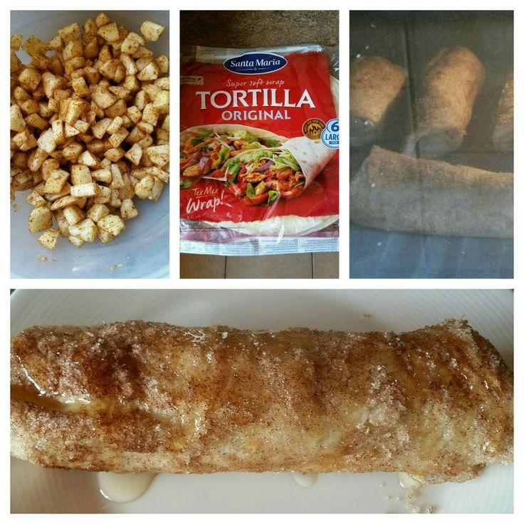 Tortillia met appel  Appel...kaneel....suiker In Tortillia doen....op rollen... 30 gr boter smelten....de rolletjes in smeren....dan door mix van kaneel en suiker heen rollen en daarna in de oven 180 gr 15 min