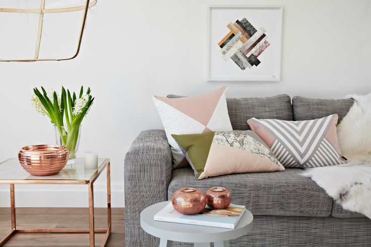 Combining pastel shades with metallics and strong geometric prints makes them edgy and bang on trend. With no flowers or daisy patterns in sight, this look is strong and fabulous. It's just the kind of combination I love for my own home and, with a touch of Scandi sanctuary, this is actually my perfect living room of the moment.
