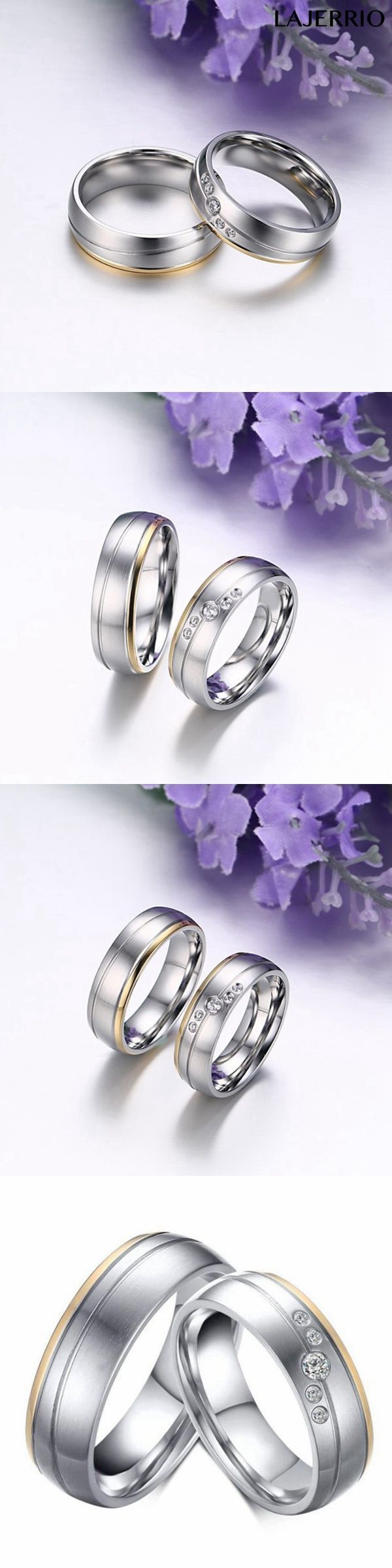 Lajerrio Jewelry Gold & Silver Round Cut White Sapphire Titanium Steel Promise Rings for Couples 811011