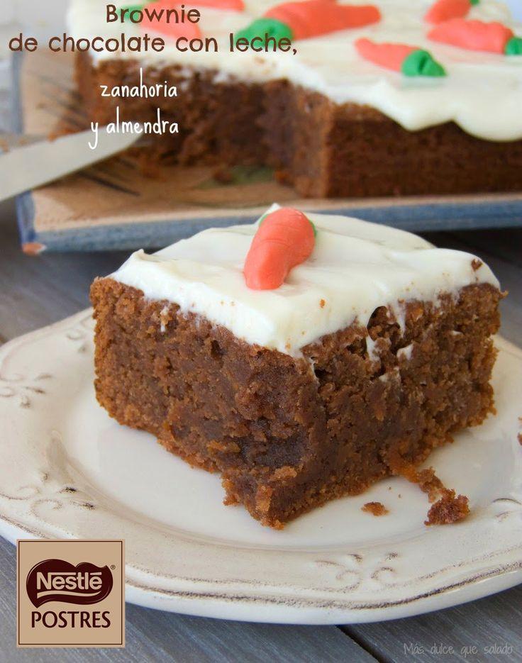 Brownie de chocolate con leche, zanahoria y almendra. Blog: Más dulce que salado