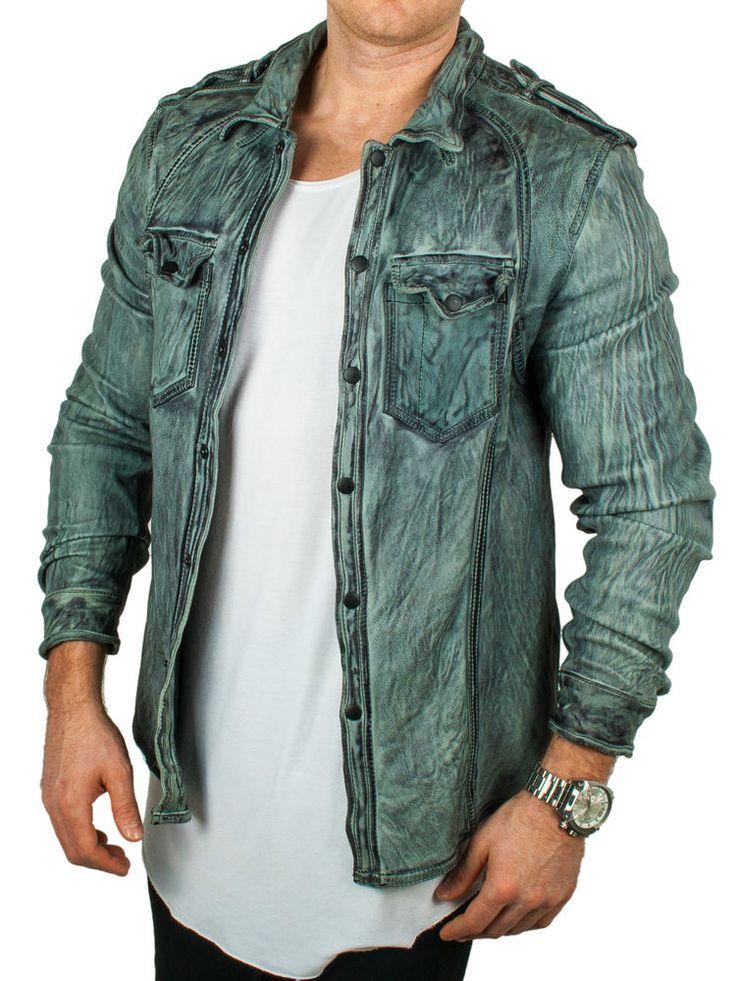 Echte Herren Schafsleder Lederhemd Lederjacke Leather Shirt Bikerjacke grau slim | eBay