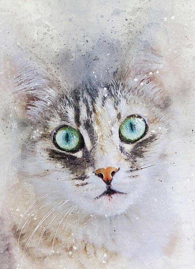 Watercolor Cat Face Digital Art by Oksana Ariskina #OksanaAriskina   #HomeDecor #FineArtPrint #BuyArtOnline #PrintsForSale #Cat #Illustration #Paint #Abstract #Watercolor