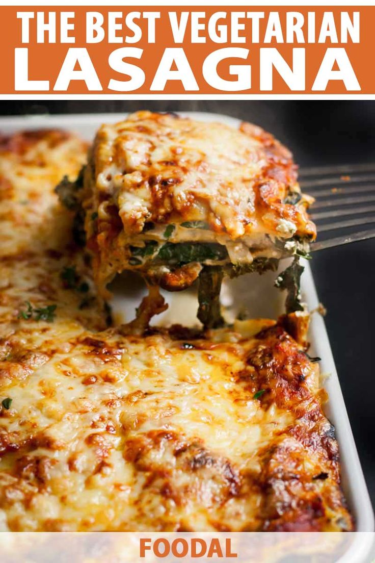 This vegetarian lasagna is filled with creamy ricotta & herbs, mushrooms, spinach, and kale. It's then topped with Gruyère and Raclette cheeses for the ultimate melty cheese experience! Best Vegetarian Lasagna, Meatless Lasagna, Vegetable Lasagna Recipes, Tasty Vegetarian Recipes, Veggie Recipes, Cooking Recipes, Easy Veggie Lasagna, Sauce Pesto, Sauce Tomate